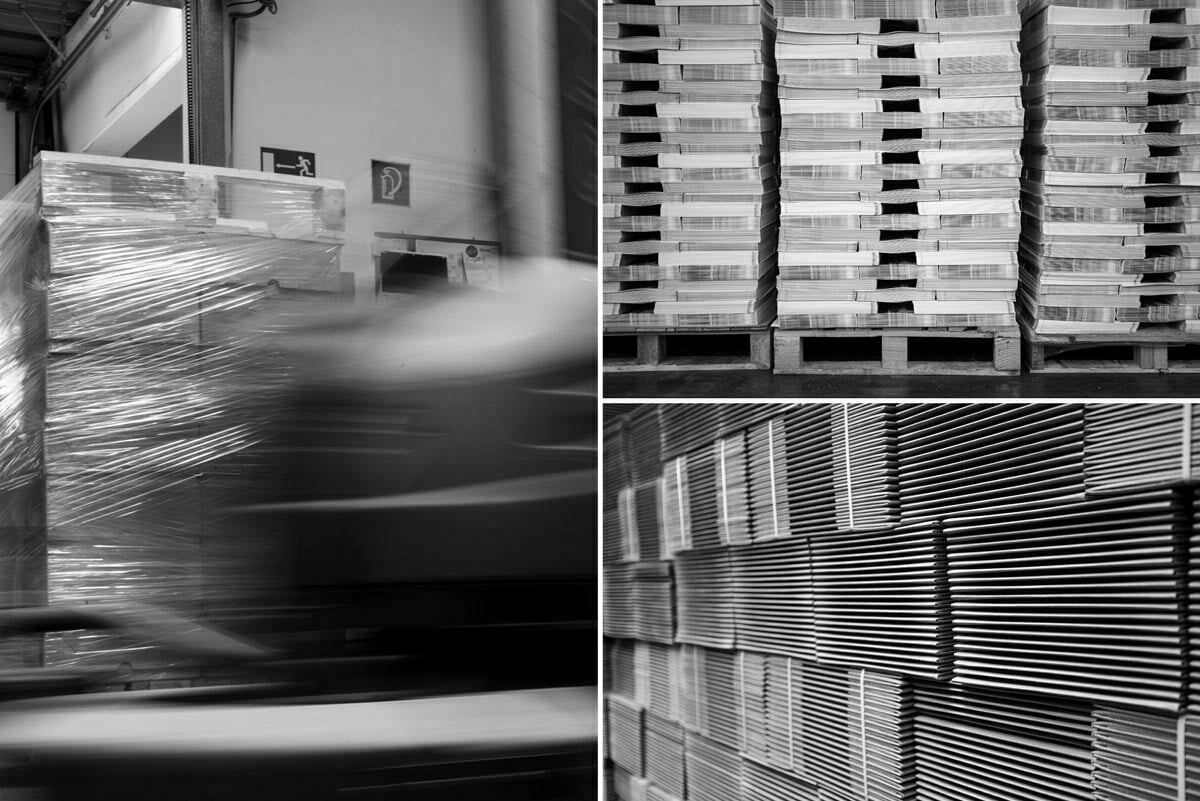 Collage of 3 photos of direct mail warehouse - Booklets packed for distribution on pallets