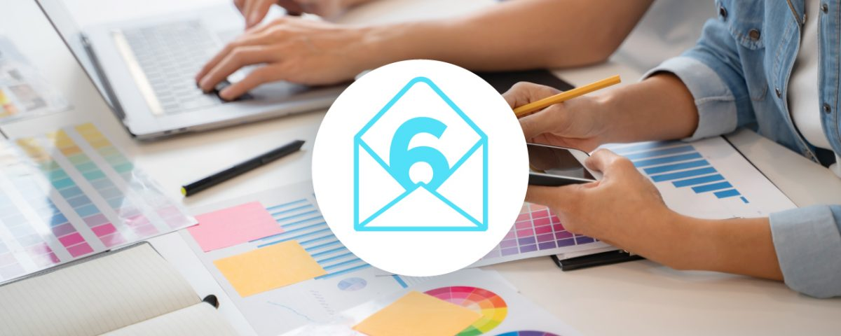 6 tips direct mail icon with graphic designers in background